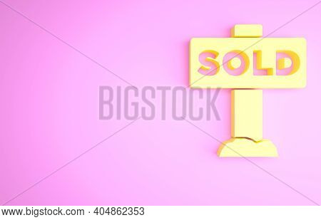 Yellow Hanging Sign With Text Sold Icon Isolated On Pink Background. Sold Sticker. Sold Signboard. M