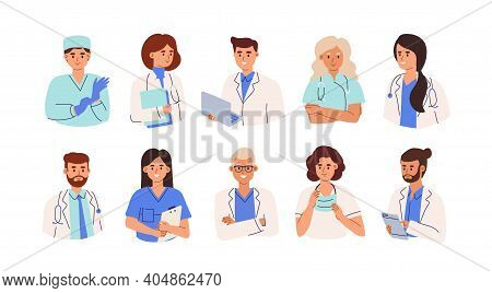 Set Of Smiling Doctors, Nurses And Paramedics. Portraits Of Male And Female Medic Workers In Uniform