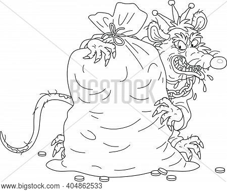 Spiteful And Greedy Of Gain Old Rat King With A Shabby Tail, Grinning And Hugging A Big Bag Of Coins