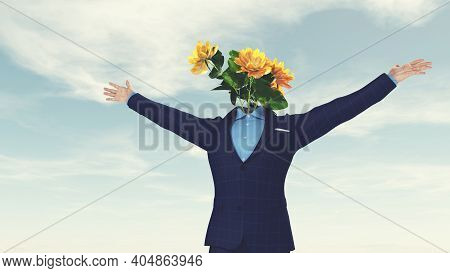 Flowers Instead Of Head And Rising Up Hands . Positive Mindset And Happiness Concept . This Is A 3d