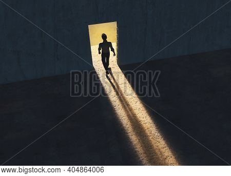 Man Walking Out Of A Room Through Opened Door . Pathway Of Opportunity.  Start Up And Career Concept