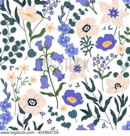 Gorgeous Seamless Floral Pattern With Bluebells And Forget-me-nots. Endless Design With Delicate Wil