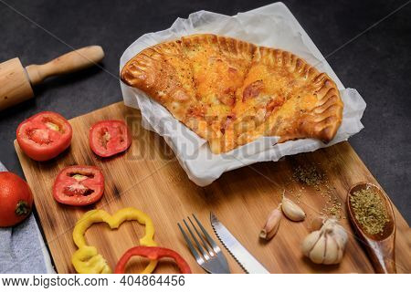 Homemade Hawaiian Pizza. Pizza Puff With Cheeze Wooden Plate Background. Cooking At Home On Winter H