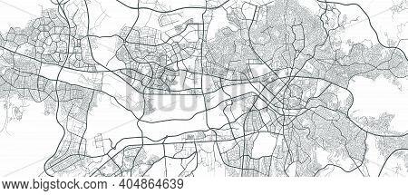 Urban City Map Of Ankara. Vector Illustration, Ankara Map Grayscale Art Poster. Street Map Image Wit