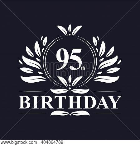 95 Years Birthday Logo, Luxury 95th Birthday Design Celebration.