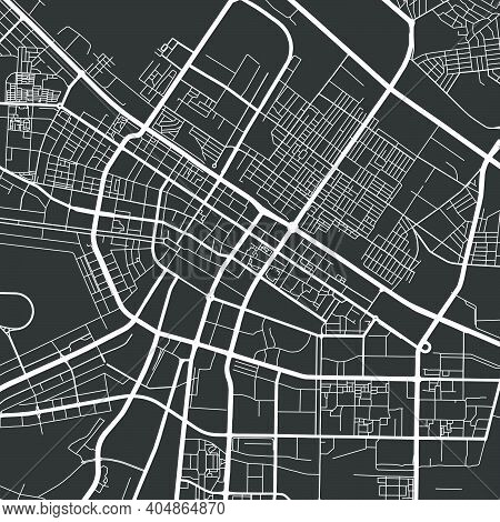 Urban City Map Of Ashgabat. Vector Illustration, Ashgabat Map Grayscale Art Poster. Street Map Image