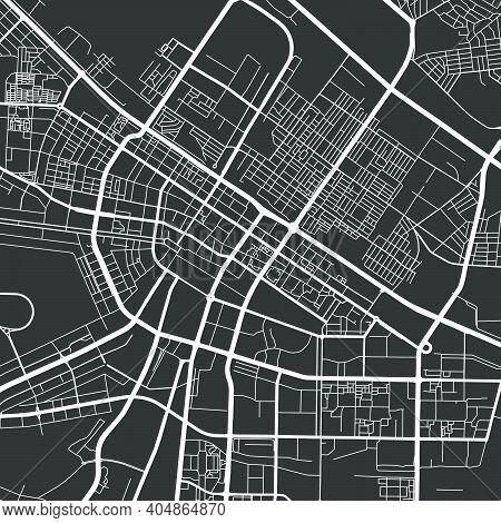Urban City Map Of Ashgabat. Vector Illustration, Ashgabat Map Grayscale Art Poster. Street Map Image