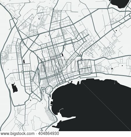 Urban City Map Of Baku. Vector Illustration, Baku Map Grayscale Art Poster. Street Map Image With Ro