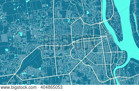 Detailed Map Of Phnom Penh City Administrative Area. Royalty Free Vector Illustration. Cityscape Pan