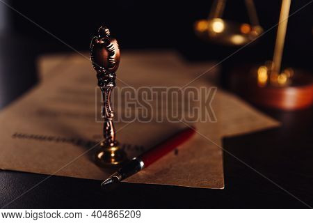 Notary Public, Attorney. Law Concept With Stamp In Courtroom. Law Judge Contract Court Legal Trust L