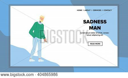 Sadness Pensive Bearded Man Staying Alone Vector