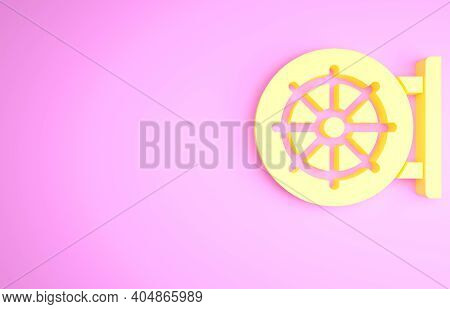 Yellow Dharma Wheel Icon Isolated On Pink Background. Buddhism Religion Sign. Dharmachakra Symbol. M