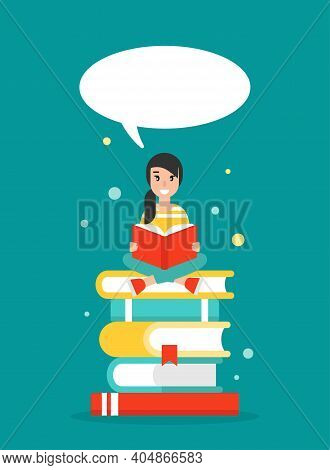 Happy Girl With Stack Of Books And Speech Bubble. Creative Study, Education, School. Giving Advice .
