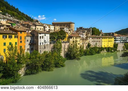 Fossombrone Village And And River Metauro. View From Concordia Bridge. Province Pesaro And Urbino, M