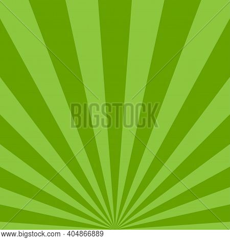 Sunlight Rays Background. Green Color Burst Background. Vector Illustration. Sun Beam Ray Sunburst W