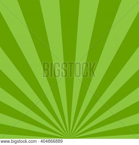 Sunlight Rays Background. Green Color Burst Background. Vector Illustration. Sun Beam Ray Sunburst W