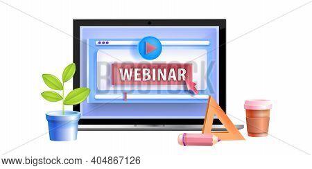 Online Webinar, Video Courses, Digital Web Training, Internet Education Vector Logo Concept, Laptop.