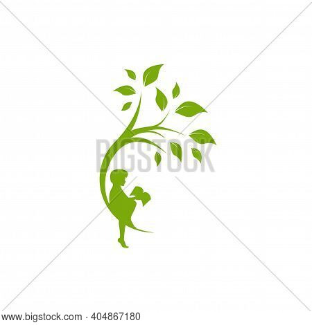 Green Curved Tree With Leaves And Child With Book. Round Border With Boy. Isolated On White. Flat De