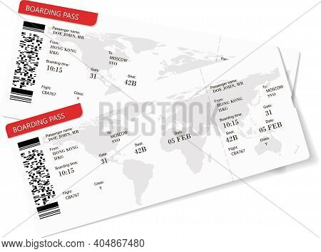 Vector Illustration Of Two Boarding Pass. Red Flight Airline Tickets. The Boarding Pass Contains Fic
