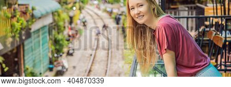 Banner, Long Format Woman Is Walking Of Hanoi City Railway. Perspective View Running Along Narrow St