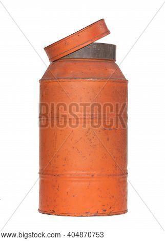Old Nostalgic Can Isolated On White - Orange Can