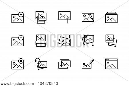 Set Of Photo Vector Linear Icons. Photograph Management. Contains Such Icons As Enhance Image, Edit,