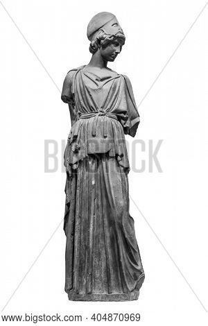 Ancient Greek Roman statue of goddess Athena god of wisdom and the arts historical sculpture isolated on white. Marble woman in helmet sculpture