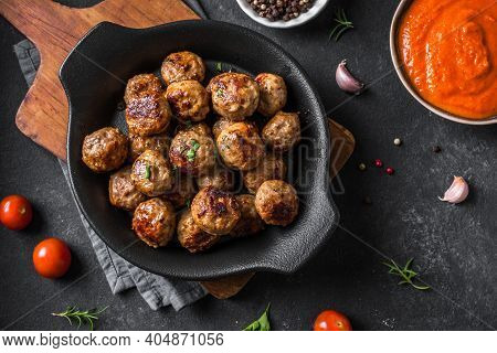 Fryed Meatballs On Black Background, Top View, Copy Space. Beef Roasted Meatballs On Ready For Eat.