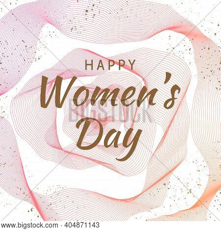 International Happy Women's Day. Floral Greeting Card. 3d Rose Flower Background With Golden Explosi