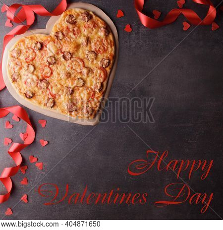 Happy Valentine's Day Lettering, Pizza Heart, Red Ribbon On Dark Background. Top View