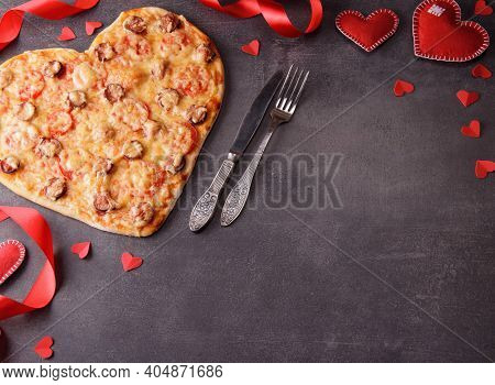 Romantic Image. Pizza In The Form Of A Heart, Decor From A Red Ribbon And A Heart. Blank Space For I