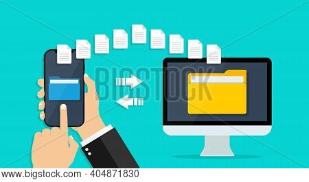 File Transfer From Phone To Computer. Folder With Data In Cellphone. Send, Backup, Copy, Share Docum
