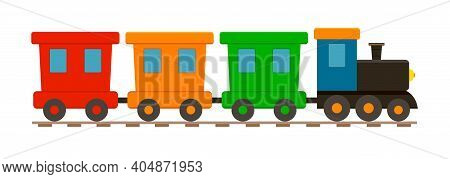 Train Toy. Locomotive For Kid. Cartoon Engine, Wagon, Wheels And Railway For Child. Train Isolated O