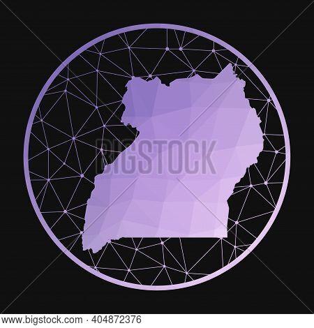 Uganda Icon. Vector Polygonal Map Of The Country. Uganda Icon In Geometric Style. The Country Map Wi