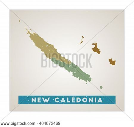 New Caledonia Map. Country Poster With Regions. Old Grunge Texture. Shape Of New Caledonia With Coun