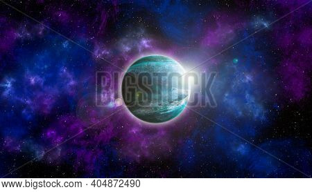 Unknown Planet From Outer Space. Space Nebula. Cosmic Cluster Of Stars. Outer Space Background. 3d I
