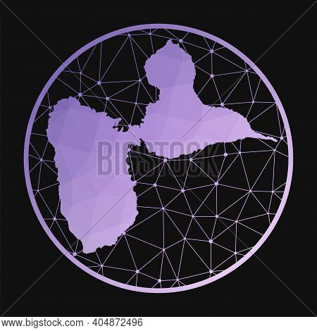 Grande-terre Icon. Vector Polygonal Map Of The Island. Grande-terre Icon In Geometric Style. The Isl