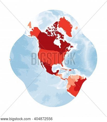 World Map. Modified Stereographic Projection For The Conterminous United States. World In Red Colors