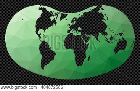Geometric World Map. Hill Projection. Polygonal Map Of The World On Transparent Background. Stencil