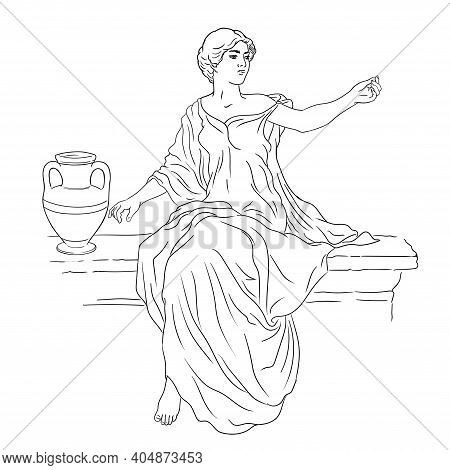 A Young Slender Woman In An Ancient Greek Tunic Sits On A Stone Parapet Next To A Jug Of Wine And Ge