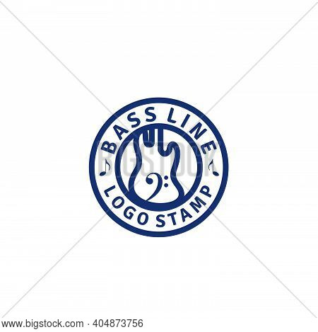 Bass Emblem Badge/ Stamp Logo Design With Cello / Bass Clef Instrument And Music Note Icon