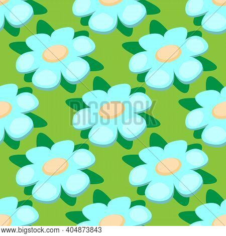 Cute Vector Seamless Pattern. Blue Flowers Forget-me-not On A Green Background. Spring And Summer Ba