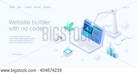 Website Builder Illustration In Isometric Vector Design. Web Development Cloud-based Service. Saas A