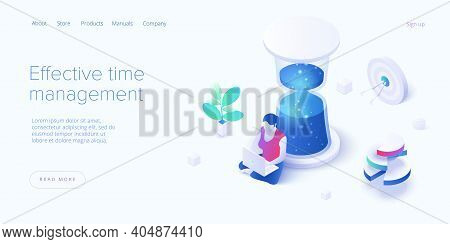 Effective Time Management In Isometric Vector Illustration. Task Prioritizing Organization For Produ