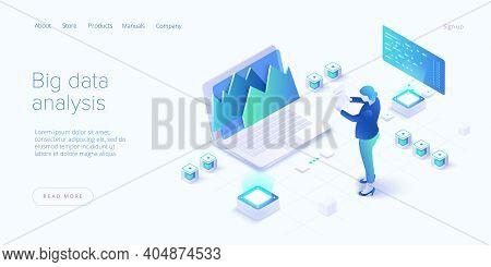 Big Data Analysis In Isometric Vector Illustration. Abstract Datacenter Or Data Hosting Server. .com