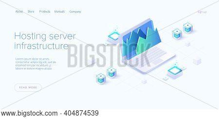 Big Data Analysis In Isometric Vector Illustration. Abstract Datacenter Or Data Hosting Server. Сomp