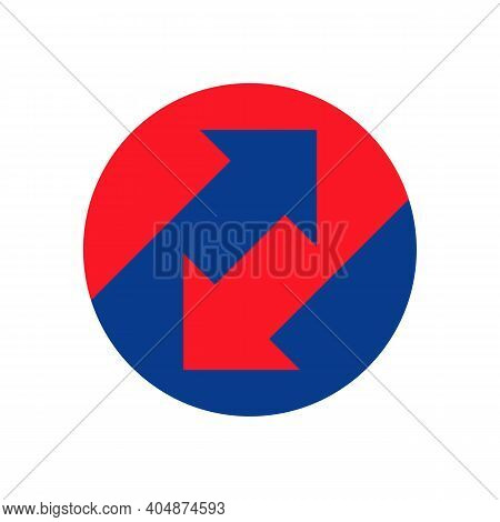 Up Down Arrows Icon Inside Circle. Upward, Downward Business Logo. Trading Concept. Two Way Arrow Sy