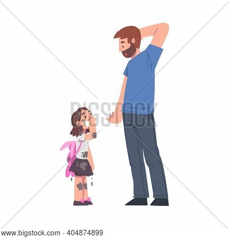 Astonished Bearded Dad Looking At His Daughter Standing In Clothes With Mud Splashes Vector Illustra