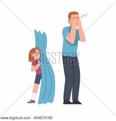 Moustached Dad Playing At Hide-and-seek With His Daughter Vector Illustration