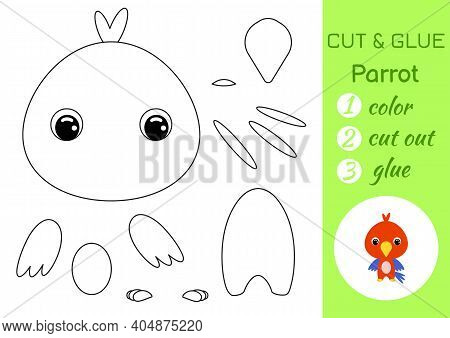 Coloring Book Cut And Glue Baby Parrot. Educational Paper Game For Preschool Children. Cut And Paste